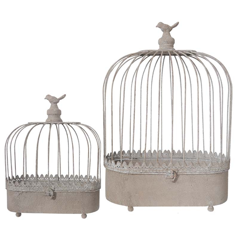 Set 2 cages fer patiné 32x16x47cm